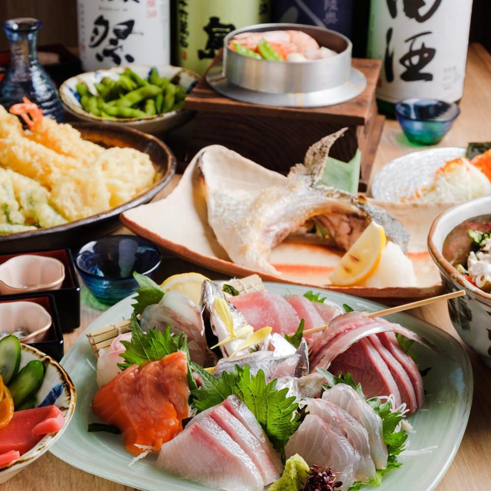鮮魚7種盛り・ウナギと金目鯛の釜飯コース<全11品> 5,500円
