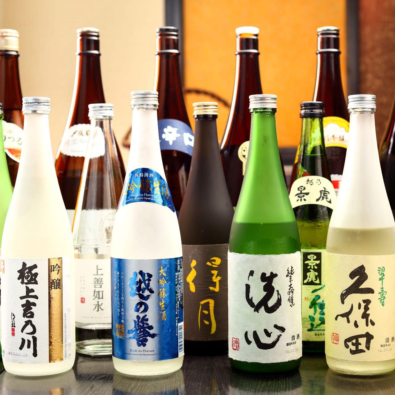 越後の地酒・銘酒を50種類以上ご用意