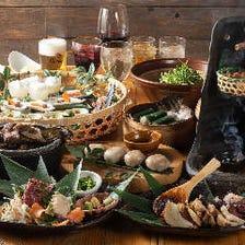 厳選肉や川魚などを使った季節料理