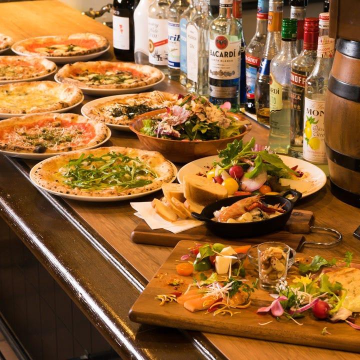 【2時間食べ飲み放題付】ピッツァ食べ放題飲み放題プラン〈全13品〉各種宴会、女子会、同窓会にも