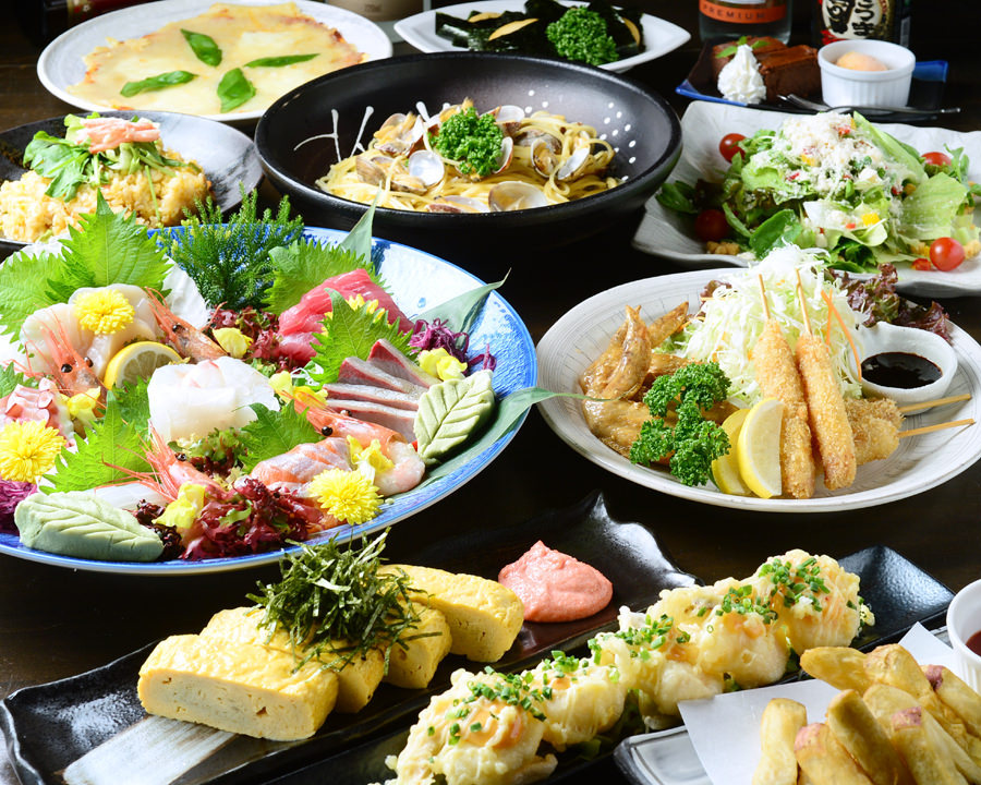 新鮮魚介と和洋折衷の融合で満腹!