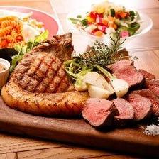 【山形牛とブランド豚「TOKYO X」盛り合わせ「肉」コース】…6,000yen(クラフトビール5種付き2H飲み放題)