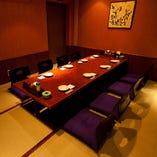 【7階】最大14名様VIP個室  掘り炬燵形式・・・すだれを使い8名様半個室での様子♪