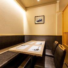 和を基調とした落ち着きのある個室席