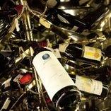 料理に合うワインやシャンパンを各地から取り揃えております。