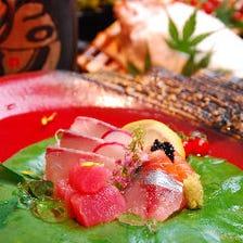 【料理のみ・一人一皿】鮮魚造り入彩八寸・名物塩釜焼き『つきあかり 匠-Takumi-コース』4000円