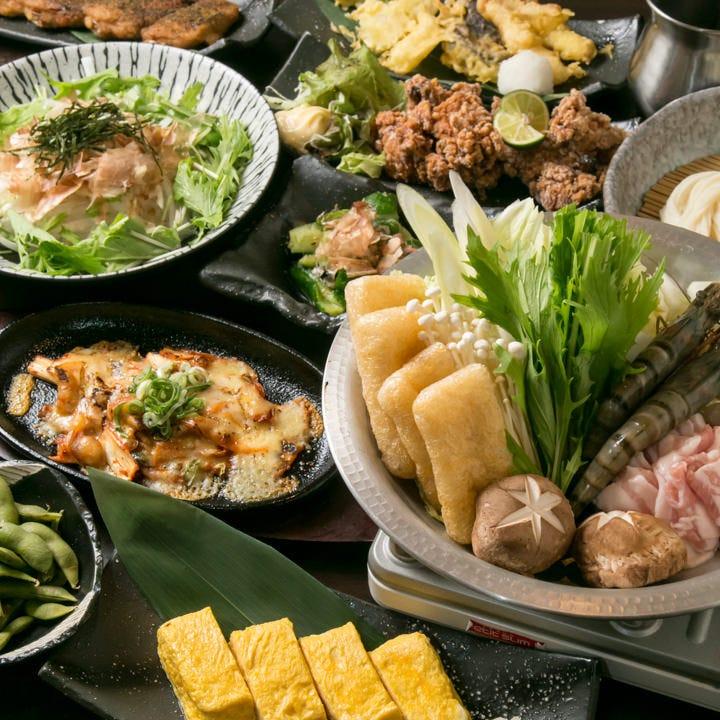 90分飲み放題+うどん食べ放題を含む12品!串天ぷら5種や豚キムチーズも♪『うどんすき満足コース』