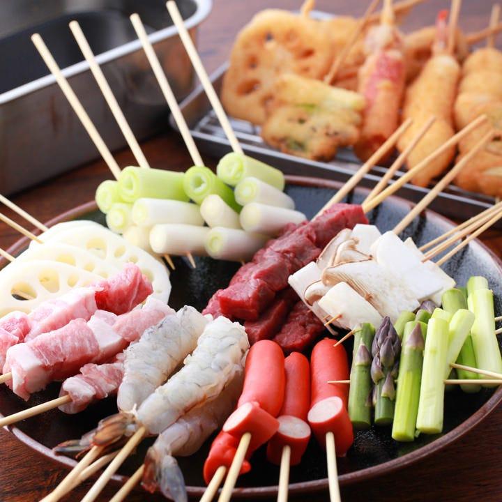 厳選した食材を毎日お店で串打ち!豚は鹿児島茶美豚を使用!