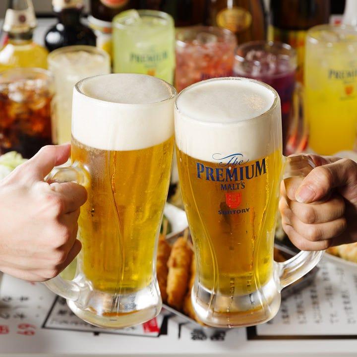 1分10円(税抜)飲み放題で乾杯!