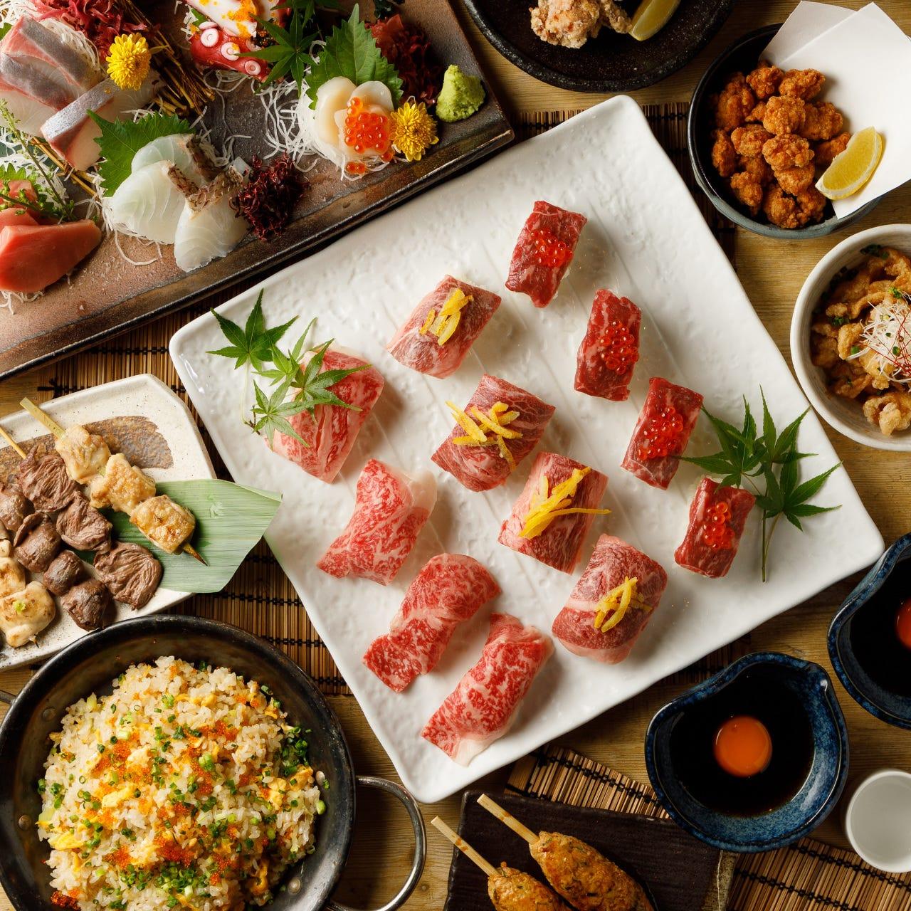 豪華☆国産和牛肉寿司3種食べ比べ♪ 『minehachi-極-コース』3時間飲み放題9品6500円⇒5500円