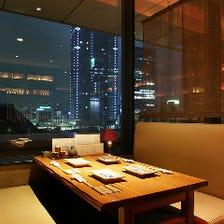東京駅の夜景を眺めながらお食事を