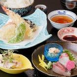 お昼限定の天婦羅御膳は2,000円(税抜)と手頃な価格でご提供
