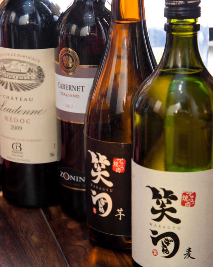 笑ぎゅうオリジナル焼酎や、 日本酒もご用意しております。