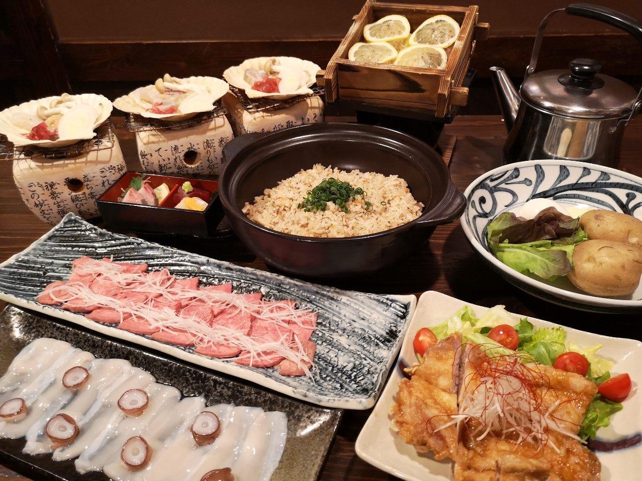 贅沢!当店5大名物付き厳選海鮮と牛リブアイステーキを味わう6000円コース!!(2時間飲み放題付)