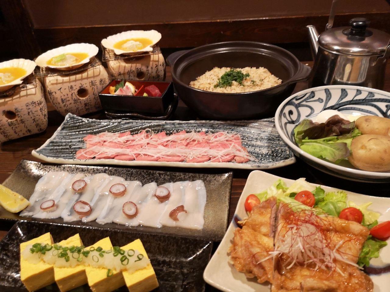 満足!当店5大名物付き!海鮮と牛リブアイステーキを味わう5000円コース!!(2時間飲み放題付)