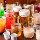 コースご注文のお客様向け「飲み放題プラン」は、50種類以上のドリンクをお楽しみいただけます
