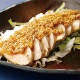 <中>蒸し鶏の葱生姜 香味醤油