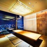 夜景の見える半個室のお席は最大で12名様迄の宴会が可能です。