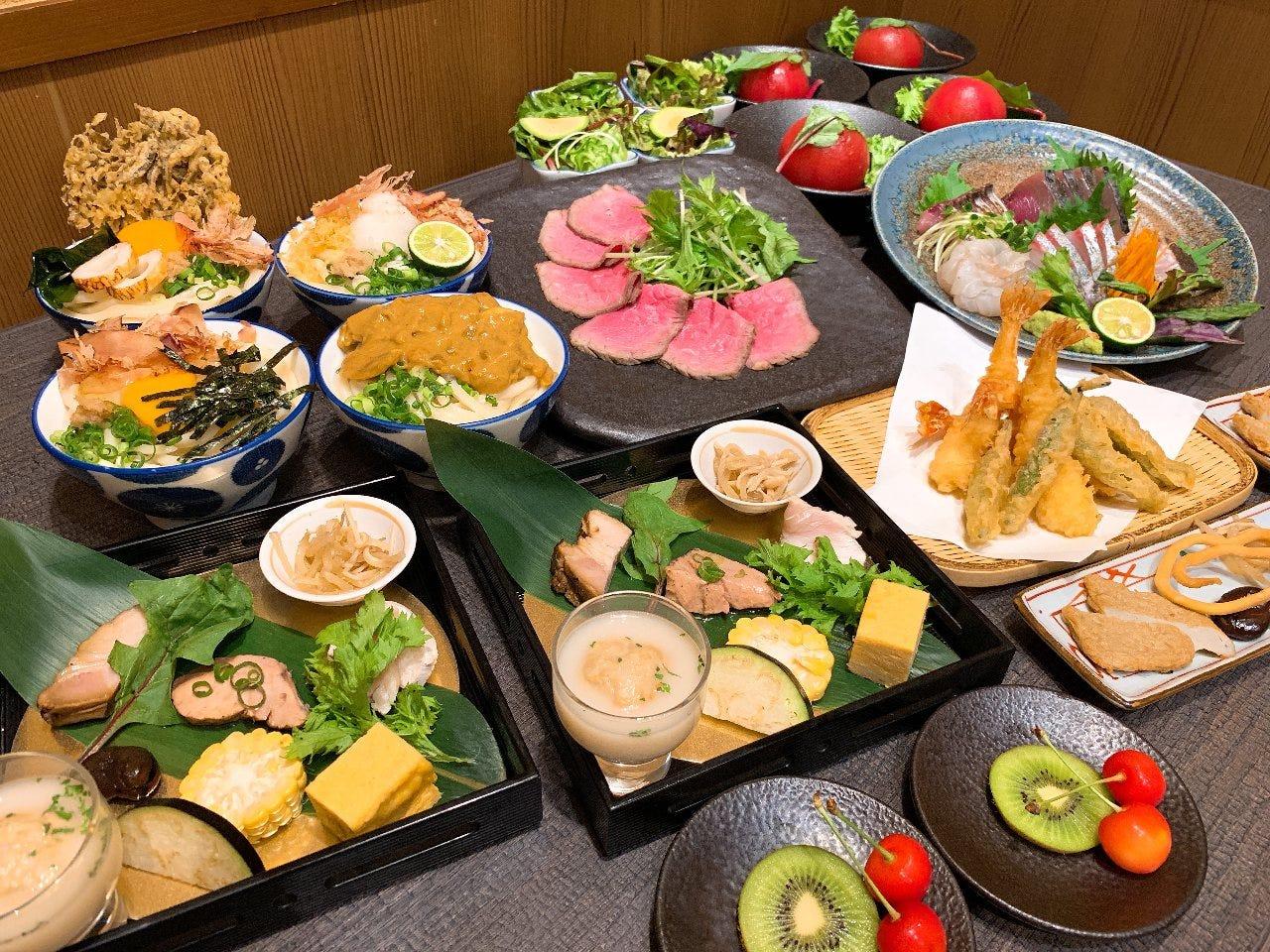 お肉料理をメインに、天ぷら、お刺身など多種多様なコース!