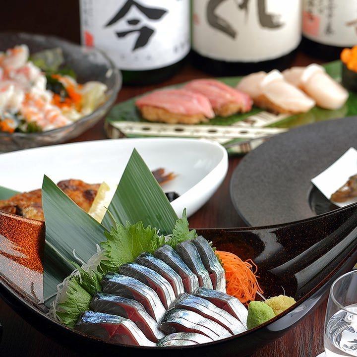 当店が誇る鮮魚をふんだんに使用したコースは5,000円(税抜)~