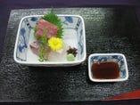 サービス懐石コース、(お通し、前菜、酢の物、刺身、煮物、焼き物、天ぷら、)
