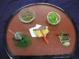 ミニ懐石コース(お通し、鉢盛り、刺身、煮物、天ぷら)