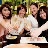 自分へのご褒美に♪まずはシャンパン片手に仲良し女子で乾杯~★