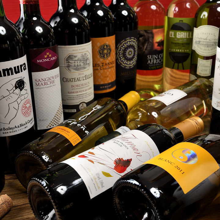 時間無制限ワインが飲み放題コース有