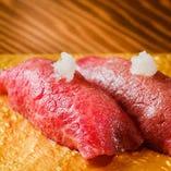 【大人気メニュー】こだわりの炙り和牛寿司!