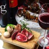 赤ワインと赤身肉のマリアージュをお楽しみください。