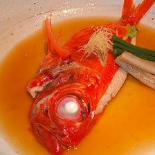 新鮮な魚介類を使用したメニュー