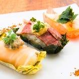 彩り肉寿司3種盛り
