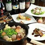 「フォアグラつくねのチーズ味噌鍋」など、和洋折衷鍋が食べられるコースは人気No.1!