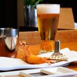 乾杯のビールよく冷えています!爽快な喉越しを堪能