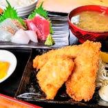 地魚フライ刺身定食