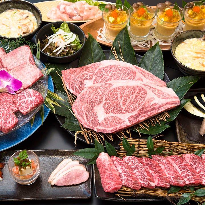 【お料理のみ】宴会7,000円コース〈全11品〉|特選黒毛和牛ステーキ、特上カルビなど質の高いお肉を堪能