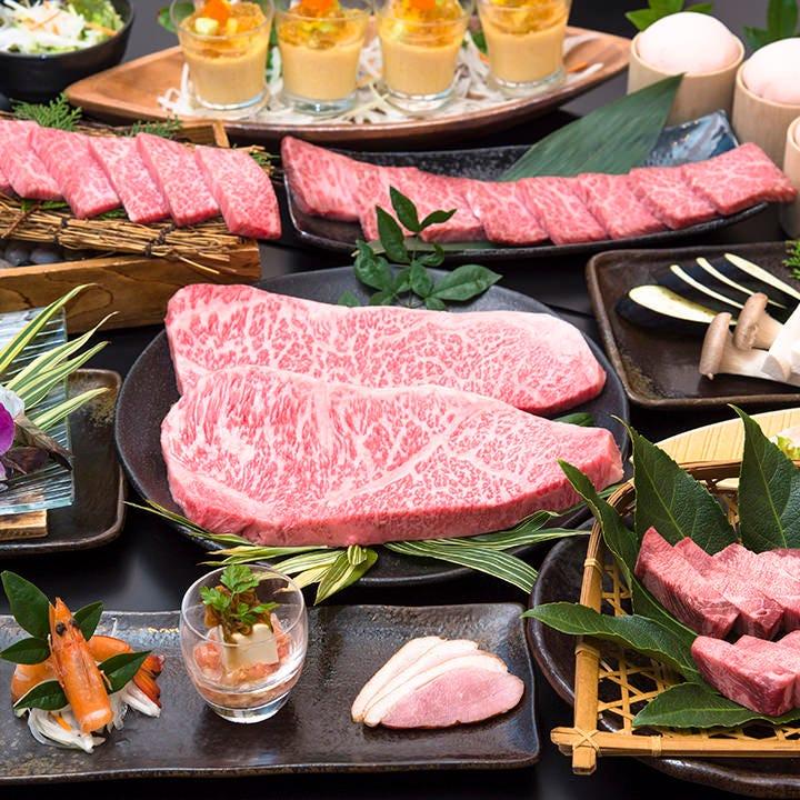 【お料理のみ】宴会8,000円コース〈全12品〉|上質な黒毛和牛のステーキ、希少部位などを贅沢に
