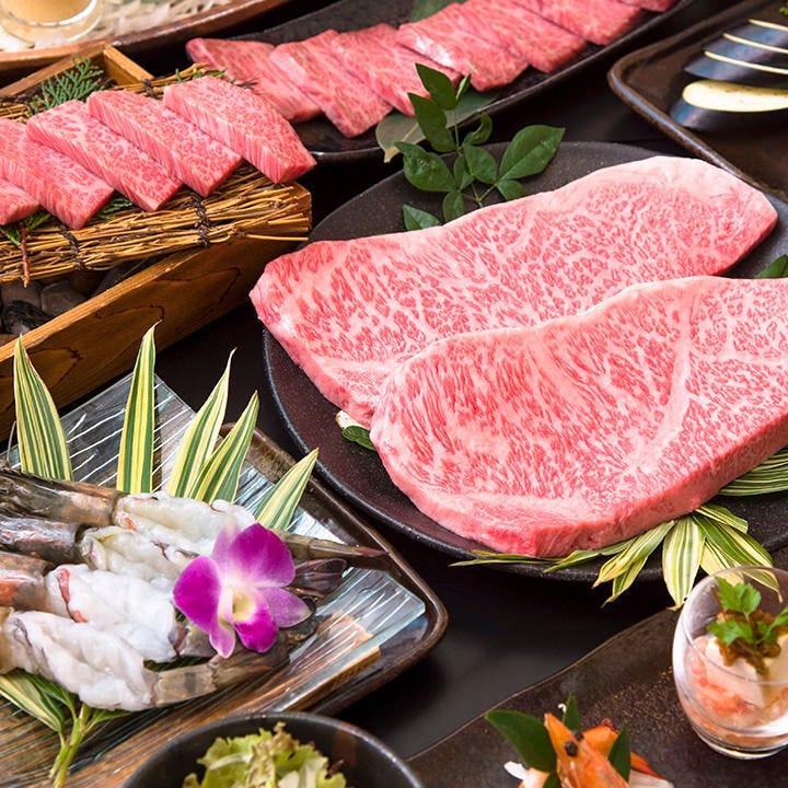 【120分飲み放題付】宴会8,900円コース〈全13品〉|上質な黒毛和牛のステーキやカルビを贅沢に