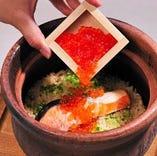 銀鮭といくらの土鍋飯