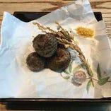 蒸し石川芋 からすみ塩で