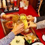 飲み放題付宴会が特別価格3,000円~自慢のお好み焼・鉄板焼をはじめ、旬の素材をふんだんに盛り込んだ人気メニューがてんこもり!