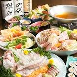 『上姿造+選べる鍋+季節料理+揚焼 コース』飲み放題付90分 6,000円