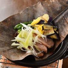 合鴨の朴葉味噌焼き