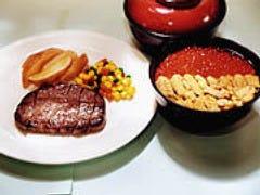ビーフステーキとコンビ丼 1,200円