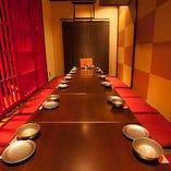 女子会や合コン、接待にもおすすめな完全個室掘りごたつ席(〜12名様)