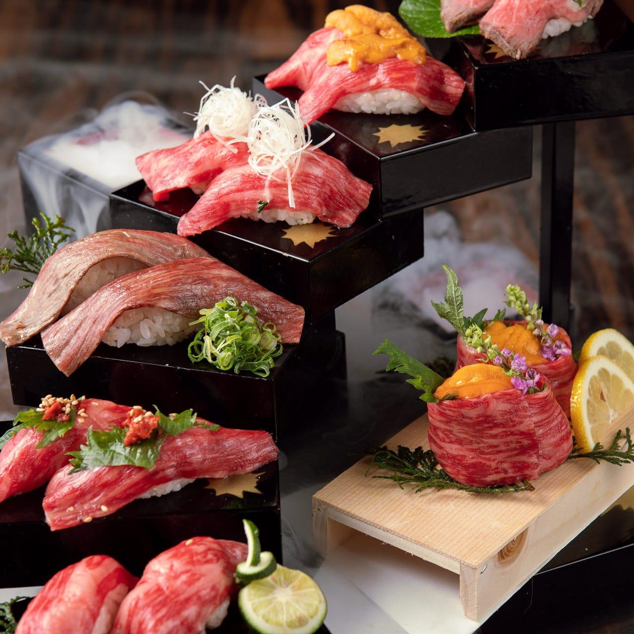 神戸牛一頭買い!「黒毛和牛・天空の肉寿司階段」は必食