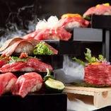 神戸牛・天空の肉寿司階段 2貫×7種