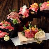 黒毛和牛・天空の肉寿司階段 2貫×7種