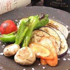 溶岩石で焼く厳選野菜