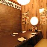 個室は2名様用からご用意!落ち着いた雰囲気でデートにも最適!